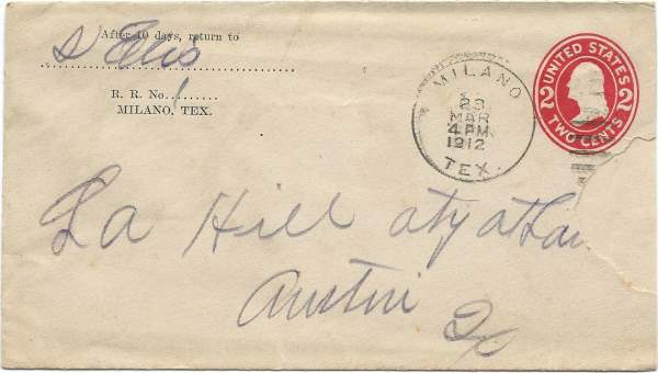 1912 Postcard from S. Ellis to L. A. Hill, Aty at Law