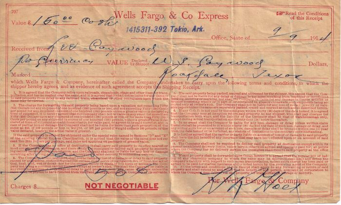 Wells Farge & Co. Express - receipt from A. L. Caywood - 9-9-1914