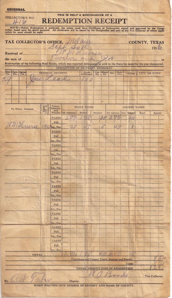 1915 Milam County, TX property tax receipt - W. M. Huerse