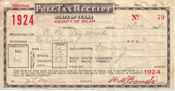 A. Lee Caywood - 1924 Poll Tax Receipt - Milam County, TX