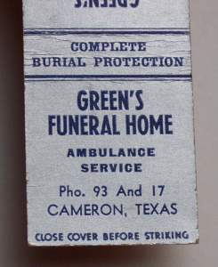 Green's Funeral Home - 1930 matchbook