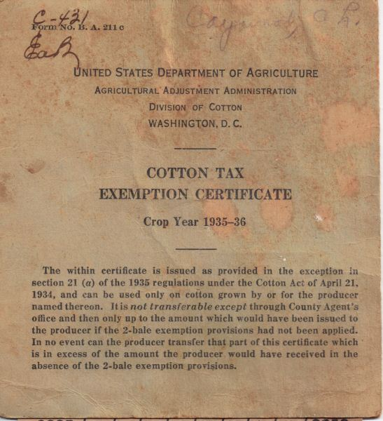1935-36 USDA Cotton Tax Exemption - A. Lee Caywood