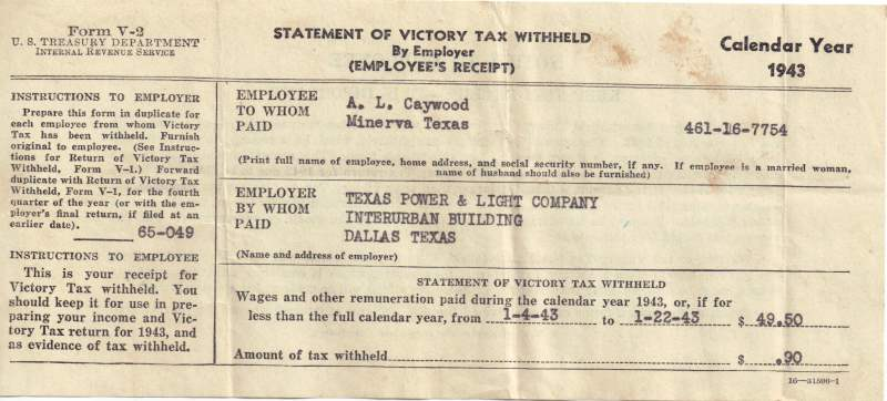 A. L. Caywood Statement of Victory Tax Withheld  - 1943