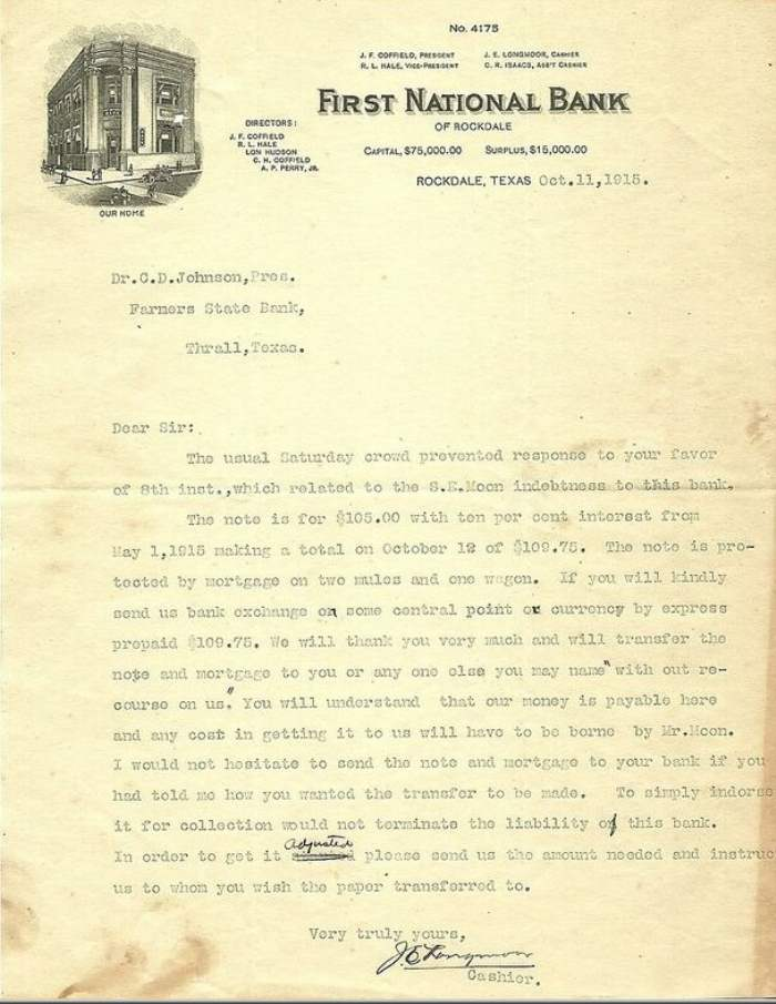 First National Bank letter dated October 11, 1915