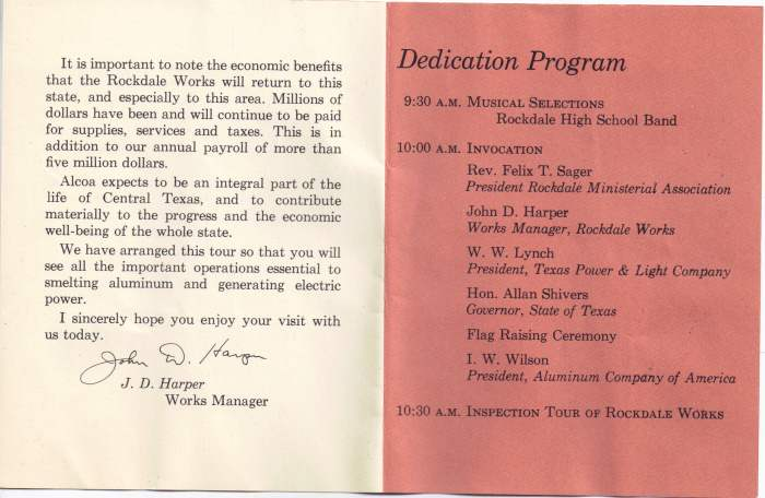 Alcoa Dedication - Rockdale TX - April 24, 1954 Program