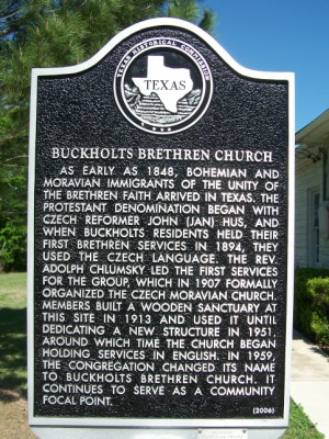 Buckholts Brethren Church Historical Marker, Buckholts, Milam, TX