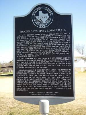 S.P.J.S.T. Hall - Buckholts, Texas THC Historical Marker
