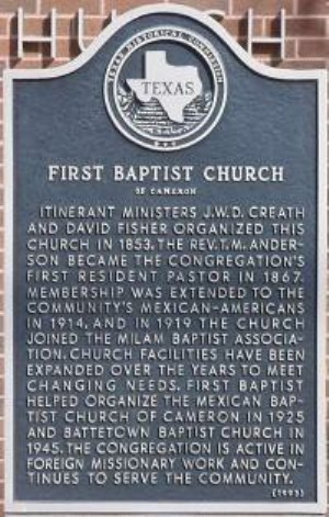 First Baptist Church Historical Marker, Cameron, Milam, TX