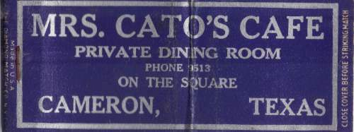 Mrs. Cato's Cafe - Cameron, TX - matchbook