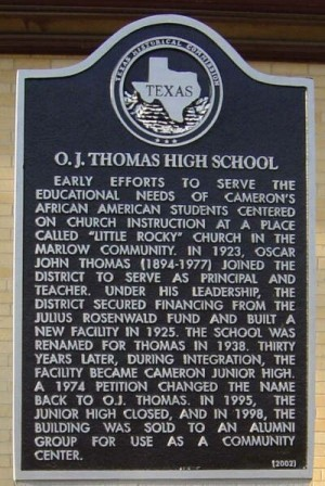O. J. Thomas High School Historical Marker, Cameron, Milam, TX