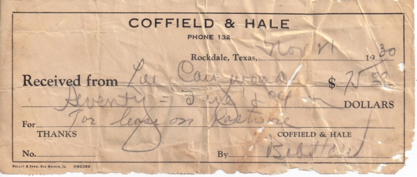 offield & Hale receipt