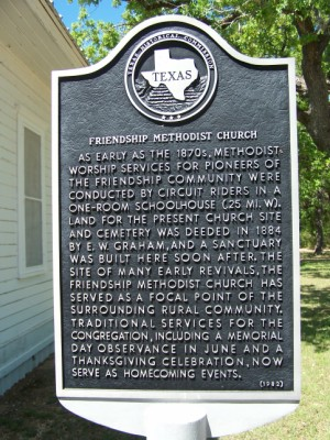 Friendship Methodist Church Historical Marker, Friendship, Milam, TX