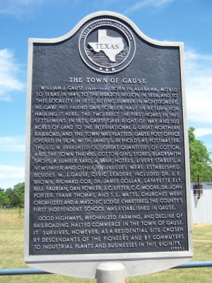 Town of Gause Historical Marker - Gause, Milam, TX