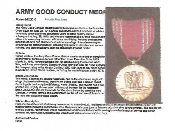 U.S. Army Good Conduct Medal - WWII