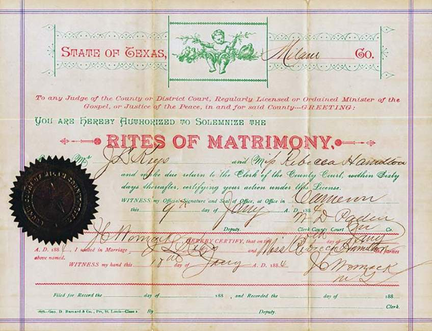 Milam County, TX Marriage Certificate for J. D. Keys and Rebecca Hamilton