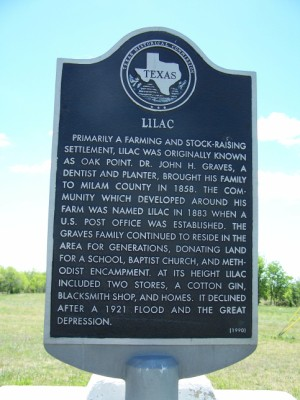 Lilac Community Historical Marker, Lilac, Milam, TX