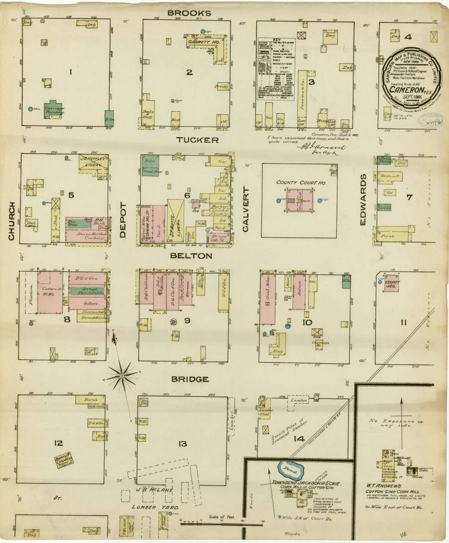 Street map of Cameron, TX - 1885