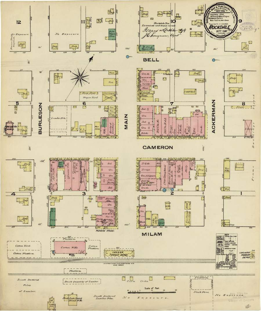 Street Map of Rockdale, TX 1885
