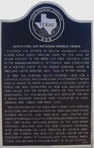 S.S. Cyril & Methodius Catholic Church Historical Marker, Marak, Milam, TX