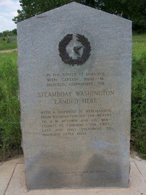 Steamboat Washington Landed Here Historical Marker, Milam County, TX
