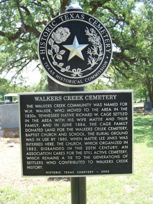 Walkers Creek Cemetery Historical Marker, Milam County TX