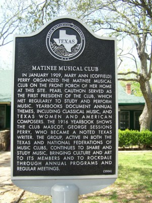 Historical Marker: Matinee Musical Club, Rockdale, Milam County,TX