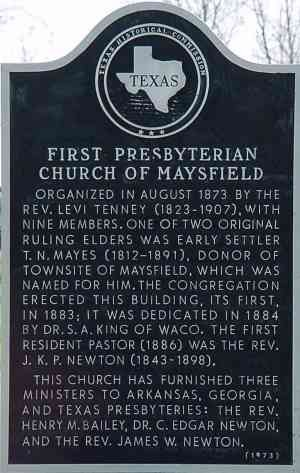 First Presbyterian Church Historical Marker, Maysfield, Milam, TX