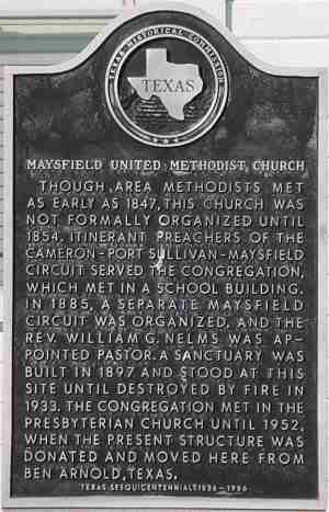 Maysfield United Methodist Church Historical Marker, Maysfield, Milam, TX