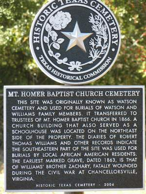 Mt Homer Baptist Church Cemetery Historical Marker