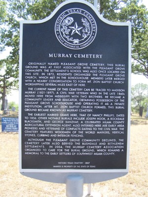Murray Cemetery Historical Marker, Milam County, TX