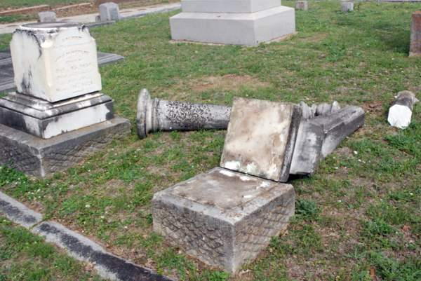 Vandalism at Oak Hill Cemetery