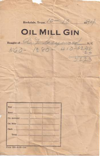 Oil Mill Gin - Rockdale, TX  receipt