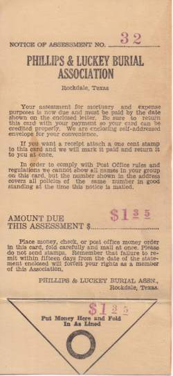 Phillips & Luckey Burial Association - 1941 dues