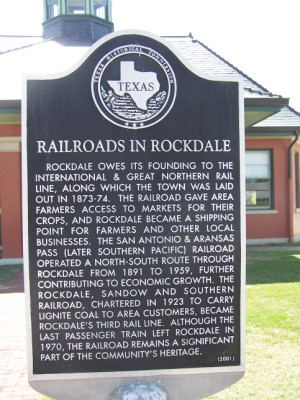 HIstorical Marker: Railroads in Rockdale, Milam County, TX