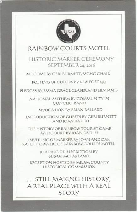 Historical Marker, Rainbow Courts, Rockdale, TX
