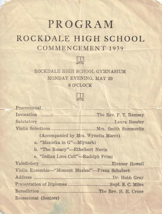 Rockdale High School Class of 1939 Commencement Program