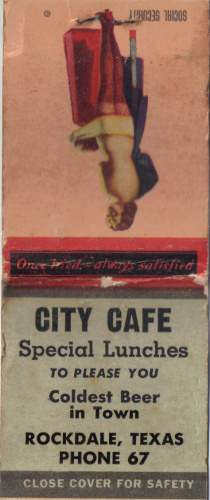 City Cafe - Rockdale,T X - matchbook