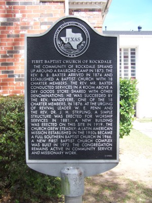 HIstorical Marker: First Baptist Church, Rockdale, Milam County, TX