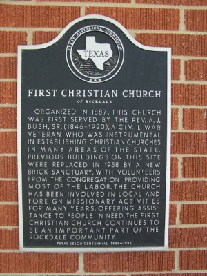 Historical Marker: First Christian Church, Rockdale, Milam, TX