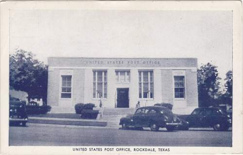 Rockdale Post Office on Stricker's Variety Store postcard