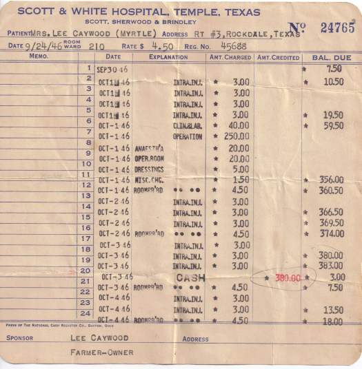 Mrs Myrtle Caywood - Scott & White Hospital bill - 1946