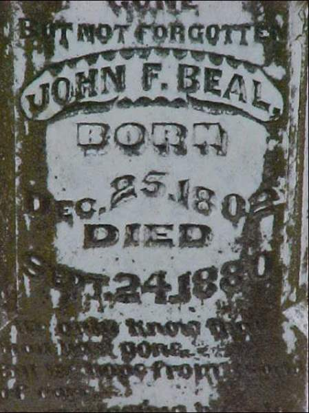 Milam County, TX Sheriff John F. Beal tombstone