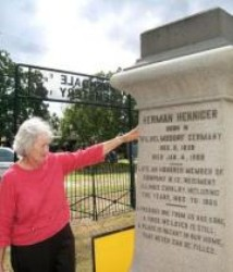 Joy Graham at the Herman Henniger Monument