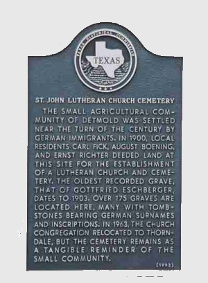 St John Lutheran Church Cemetery Historical Marker, Thorndale, Milam, TX