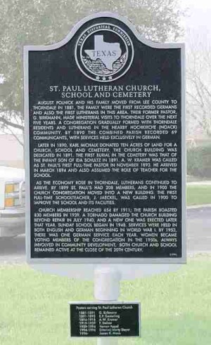 St Paul Lutheran Church< School & Cemetery Historical Marker, Thorndale, TX