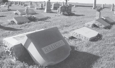 Vandalism at St Johns Lutheran Cemetery, Thorndale, TX
