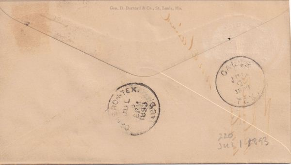 Envelope from W. M. Gill, Milam County  Court Clerk to W. G. Ferguson, Gause, TX dated July 1, 1893