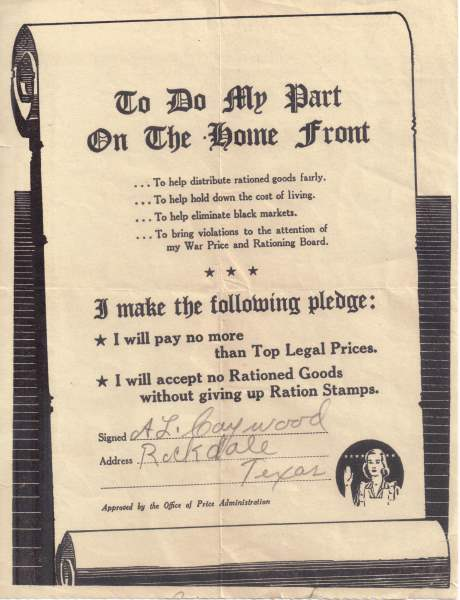 Word War II Rationing Pledge signed by A. Lee Caywood